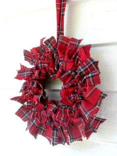 Handcrafted inch round red Royal Stewart tartan fabric rag wreath Hanging this is a unique way to add some winter and holiday color into your home Because of the size Christmas Projects, Christmas Themes, Christmas Holidays, Christmas Decorations, Holiday Wreaths, Holiday Crafts, Holiday Decor, Holiday Ideas, Wreath Crafts
