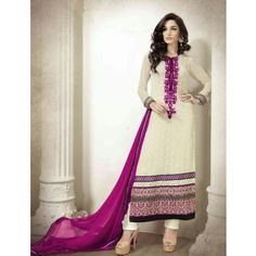 Off White Georgette Casual #Churidar Kameez With Dupatta- $60.79                                                                                                                                                      More