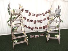 Rustic Marquee Wedding - Sweetpea and Ivy ladder photo display table plan