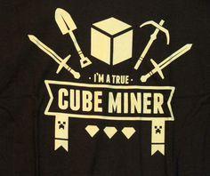 New Teefury Cube Miner Mine Craft Minecraft Brown Unisex T Shirt Medium M | eBay