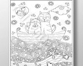 Cats Life - PRINTABLE Hand drawn Coloring Page Digital Download - pinned by pin4etsy.com