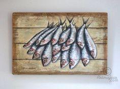 SARDINES (Peinture),  40x70 cm par Philippe Coeurdevey Petites planches de bois peintes et cirées.
