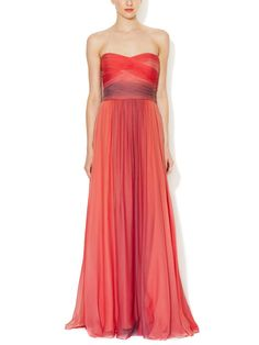 Strapless Ombré Ruched Gown by Monique Lhuillier at Gilt