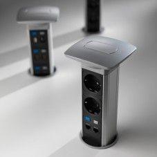Elektrická přípojka Versapull je výsuvný napájecí modul, který je vhodný do pracovních stolů, kanceláří, hotelů, kuchyň nebo konferenčních místností.