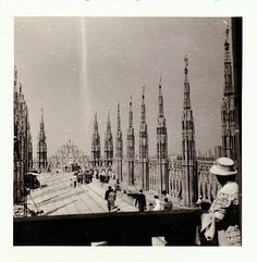 Mid Century 60s B&W Travel Photo Snapshot Italy Architectural Cathedral Scene