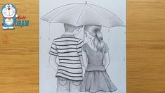 How to draw Couple With Umbrella - step by step Boy And Girl Sketch, Boy And Girl Drawing, Boy Sketch, Boy And Girl Cartoon, Cute Sketches, Girl Drawing Sketches, Art Drawings Sketches Simple, Beautiful Drawings, Easy Drawings