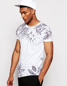 River Island White T-Shirt with Monochrome Floral Print