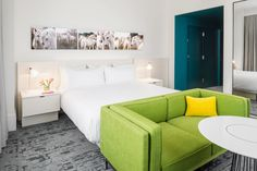 Pops of color in 21c Lexington gives the guest suites a lively and comfortable feel