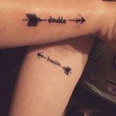 For all siblings: matching tattoo ideas that are more than awesome! - The perfect matching tattoo for siblings - Twin Tattoos, Sibling Tattoos, Paar Tattoos, Tatuajes Tattoos, Body Art Tattoos, Sleeve Tattoos, Tattoos For Twins, Partner Tattoos, Arabic Tattoos
