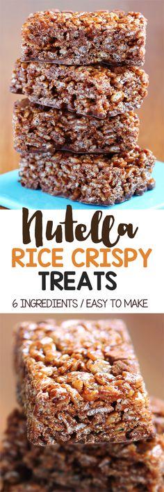 Nutella Rice Crispy Treats (No Bake!)