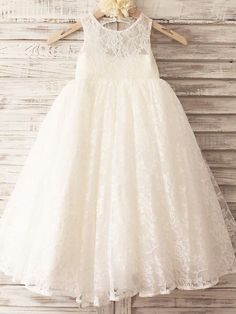 Princess Floor-length Flower Girl Dress - Lace / Tulle Sleeveless Scoop with Lace - USD $59.99
