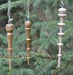 These icicles are easy to turn and won't melt when you bring them in the house.  Easy to turn wooden Christmas ornaments.