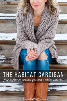 Free Beginner Crochet Sweater Pattern + Tutorial - Flowy Cardigan A cozy crochet cardigan sweater with long dolman sleeves. Perfect sweater pattern and tutorial for beginners. Made with Lion Brand Heartland yarn in the color Grand Canyon. Cardigan Au Crochet, Black Crochet Dress, Crochet Shawl, Crochet Sweaters, Free Crochet Sweater Patterns, Crochet Ideas, Crochet Tops, Crochet Stitches, Crochet Shrugs