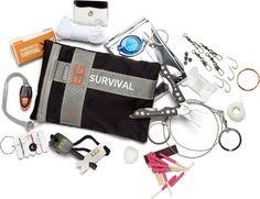adding magnifying glass, brew kit, water purification tablets (chlorine dixoide), compass, aluminum foil, duct tape, bandannas, signal whistle and chemical light sticks. www.nalpak.com/Bear-Grylls