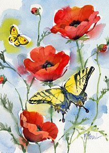 Painting - Poppies And Butterflies by Paul Brent