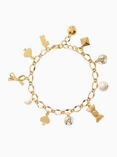 pearls, bows, and @Kate Mazur spade new york charm bracelet