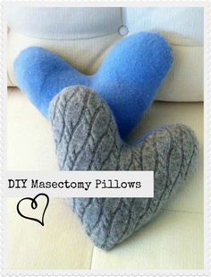 DIY masectomy pillows for after the surgery...these go under the arms for comfort and support.