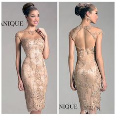 2019 Lace Short Mother Of The Bride Dresses Mermaid Knee Length Zipper Backless Sheer Neck With Capped Sleeves Women Wedding Party Gowns Mother Dresses For Wedding Mother Of Bride Dresses With Jackets Mother Of Groom Dresses, Bride Groom Dress, Bride Gowns, Mothers Dresses, Mother Of The Bride, Bride Suit, Elegant Cocktail Dress, Short Cocktail Dress, Cocktail Dresses