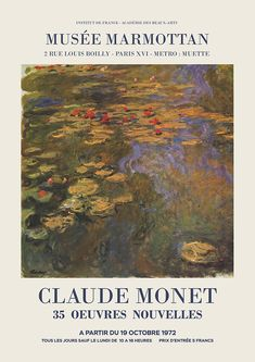 """Claude Monet - Exhibition Poster Advertising An Art Exhibition Oeuvres Nouvelles"""", 1975 Framed Art Print by - Vector Black - Monet Exhibition, Art Exhibition Posters, Museum Exhibition, Photo Wall Collage, Picture Wall, Collage Art, Room Posters, Poster Wall, Art Poster Prints"""
