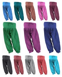 Indian Cotton Patiala. 13 colors, 5 sizes available. Drawstring in waist to adjust. Pleated pants, casual wear. Soft and light weight cotton fabric.