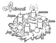 Printable Advent coloring page. Free PDF download at http://coloringcafe.com/coloring-pages/advent/