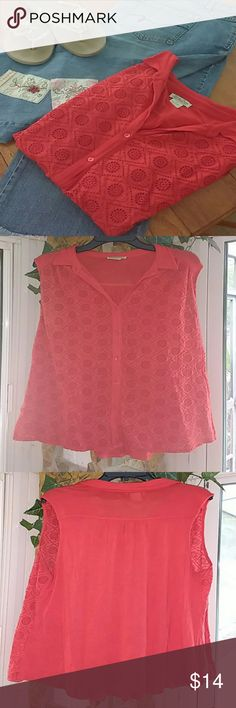 Lucky Brand Red/Orange Sleeveless Top sz 2X Cute Red/Orange Sleeveless top. Very lightweight. It has a fun crocheted pattern in the front and very soft cotton in the back. Collar and buttons give it a slightly more polished look than your regular tank.  Excellent used condition. Rayon/Cotton/Nylon mix. Sz 2X made by Lucky Brand  **All items in cover shot are listed in my closet :) Make a bundle deal!! Lucky Brand Tops