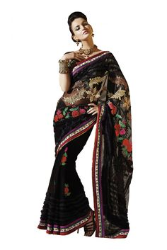 Net Party Wear Saree in Black Colour.It comes with matching Blouse.It is crafted with Embroidery .Blouse can Be Stitched upto 42 inches...