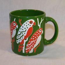 Waechtersbach Parrots Coffee Mug West Germany Green Tea Cup Birds