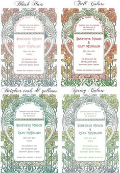 These are very cool!!! Love the way the flowers are arranged to form almost a fan shape. The overall look is very authentic. -- Gatsby Garden Wedding Invitations Art Nouveau Art by dearemma, $2.99