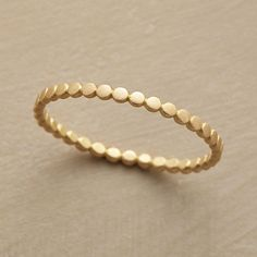 DAINTY DOTS RING -- Subtle and so very sophisticated...dainty dots of 18kt gold are burnished to a matte finish. By Ananda Khalsa. Handmade in USA. Whole sizes 5 to 9.