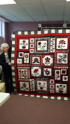 Kathy and her Stitchers Garden Quilt in Black, Red and White