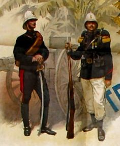 French Marine (Troupes de marine) Officer and Marsouin (private) in colonial dress, late 19th century