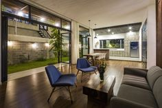 Image 30 of 43 from gallery of NhaTrang House / K.A Studio. Photograph by Hiroyuki Oki Small Modern Home, Open Space Living, Ground Floor Plan, Photo Studio, Future House, House Plans, Floor Plans, Houses, Flooring