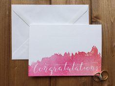 Watercolour and calligraphy Congratulations Card by PollyAndMeUK