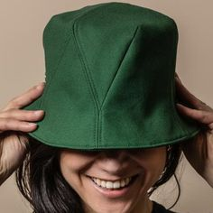 Green cotton Bucket Hat from French Hat Label Le Panache Paris. Made in France Premium Caps and bucket hats with attention to details, in limited edition. French Hat, Hat Making, Green Cotton, Bucket Hat, Highlights, Cap, France, How To Make, Women