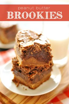 Peanut Butter Brookies combine peanut butter cookies and fudgy brownies for an utterly decadent treat.