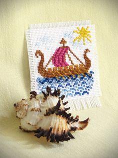 Magnet Cross Stitch  Viking ship. Souvenirs by TimeForStitch
