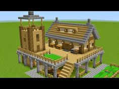 Minecraft Building Tutorial on how to build a survival base This base features a house, a tower and a farm. Easy to build in survival mode. Cute Minecraft Houses, Minecraft Farm, Minecraft Mansion, Minecraft Houses Survival, Minecraft Castle, Minecraft Plans, Minecraft Houses Blueprints, Amazing Minecraft, Minecraft House Designs