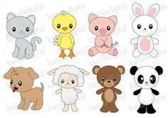 Items similar to Kawaii animals clip art set - dog, cat, pig, bear ...