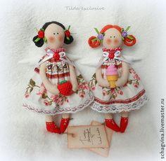 Куклы Тильды ручной работы. Ярмарка Мастеров - ручная работа Ангел с клубничкой / мороженкой. Handmade.
