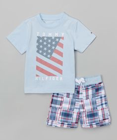 Another great find on #zulily! Tommy Hilfiger Light Blue & Red Tee & Swim Trunks - Infant, Toddler & Boys by Tommy Hilfiger #zulilyfinds