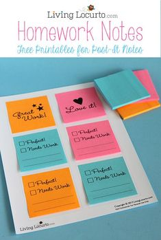 How to Print on Post-It Notes with Cute Free Printables for School Homework.  Love this idea! LivingLocurto.com