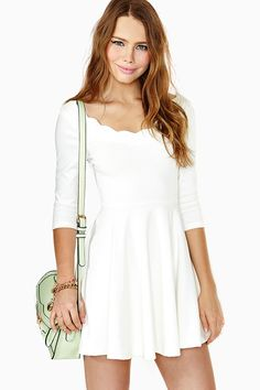 Nasty Gal Scalloped Skater Dress in White (ivory)