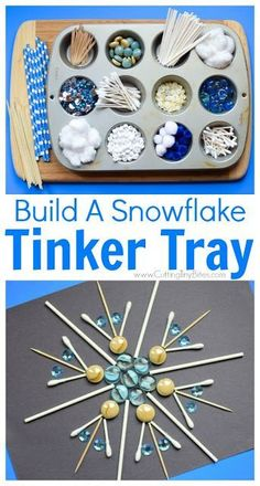Winter STEM- Build A Snowflake Tinker Tray. Use loose parts to build snowflakes. Explore radial symmetry as you incorporate math science fine motor work and creativity in this activity for preschoolers kindergartners and elementary kids.