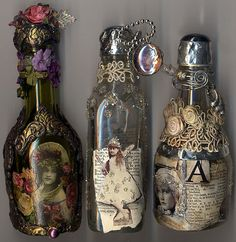 NTS:  Use craft foam and do the tin foil/write w/glue thingy to wrap label around neck of bottle or mod podge tin foil onto bottle or photo maybe with a foil frame??  Could wrap with wire and glue something pretty onto the wire (an agate or shell?)