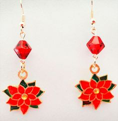 1114 - Poinsettia earrings, poinsettia jewelry, poinsettia charms, enameled charms, red crystal, Christmas earrings, Christmas jewelry by EarringsBraceletsEtc on Etsy