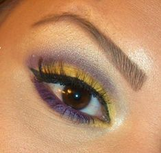 Yellow Purple eye makeup