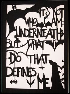 Batman quote handmade paper cut out by allanamphotography on Etsy, £4. Description from pinterest.com. I searched for this on bing.com/images Batman Love, Batman Stuff, Batman Robin, Movies Costumes, Batman Quotes, Nananana Batman, Hero Quotes, Never Stop Dreaming, Dc Heroes