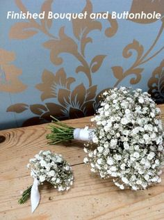 DIY instructions for creating a Baby's Breath bouquet and buttonhole for a wedding. Gypsophila Bouquet, Gypsophila Wedding, Diy Wedding Bouquet, Diy Bouquet, Boho Wedding, Wedding Flowers, Rustic Bouquet, Wedding Ceremony, Wedding Ideas