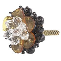 Beaded Flower Black Amber Clear Knob Jubilee Collection Knob Floral & Nature Cabinet Hardw